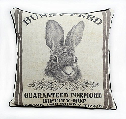 JuniperLab Farmhouse Bunny Vintage Easter Retro Primitive Old Feed Sack Cotton Linen Throw Pillow Covers Rabbit Hare Cushion Cover Shams 16 Square French Country Shabby Chic 0 3