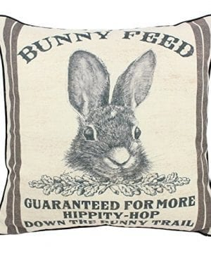 JuniperLab Farmhouse Bunny Vintage Easter Retro Primitive Old Feed Sack Cotton Linen Throw Pillow Covers Rabbit Hare Cushion Cover Shams 16 Square French Country Shabby Chic 0 300x360