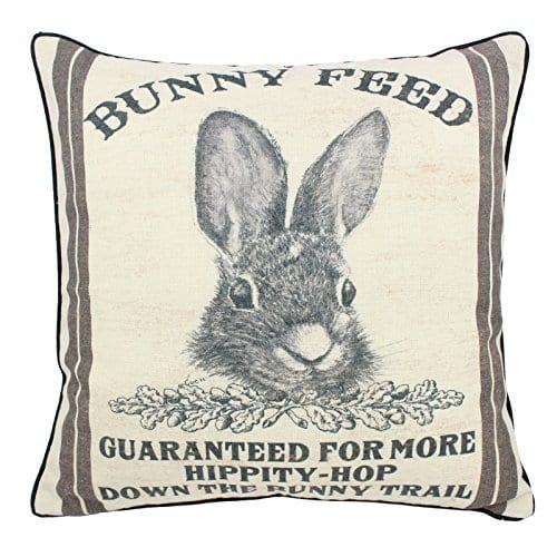 JuniperLab Farmhouse Bunny Vintage Easter Retro Primitive Old Feed Sack Cotton Linen Throw Pillow Covers Rabbit Hare Cushion Cover Shams 16 Square French Country Shabby Chic 0