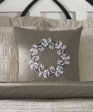 Piper Classics Farmhouse Cotton Pillow Cover 18x18 Taupe Grey Embroidered Cotton BollBall Wreath Accent 0 300x360