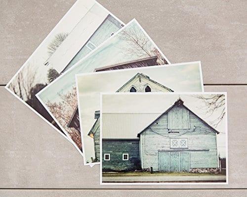 Rustic Farmhouse Decor Set Of 4 5x7 Aqua And Teal Barn Prints Fixer Upper Home Decor Wall Art 0 0