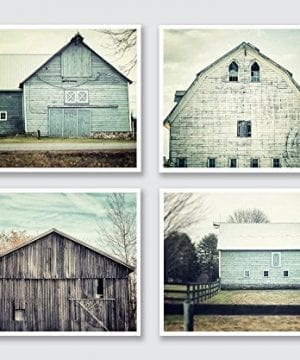 Rustic Farmhouse Decor Set Of 4 5x7 Aqua And Teal Barn Prints Fixer Upper Home Decor Wall Art 0 300x360