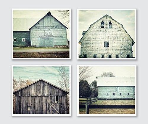 Rustic Farmhouse Decor Set Of 4 5x7 Aqua And Teal Barn Prints Fixer Upper Home Decor Wall Art 0