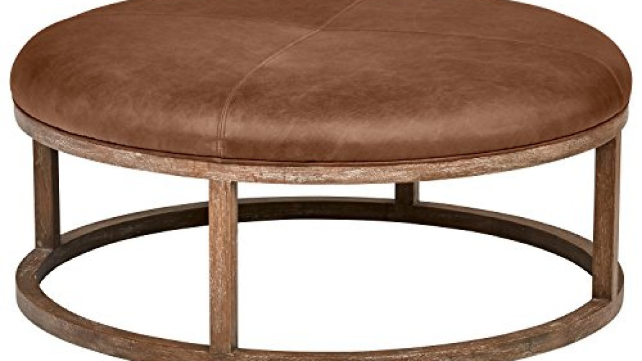 Amazon Brand Stone Beam Norah Leather And Wood Round Ottoman 39 5 Saddle Brown Farmhouse Goals