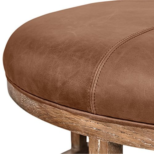 Stone Beam Norah Leather And Wood Round Ottoman 395 Saddle Brown 0 2
