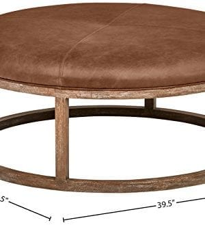 Stone Beam Norah Leather And Wood Round Ottoman 395 Saddle Brown 0 3 300x329