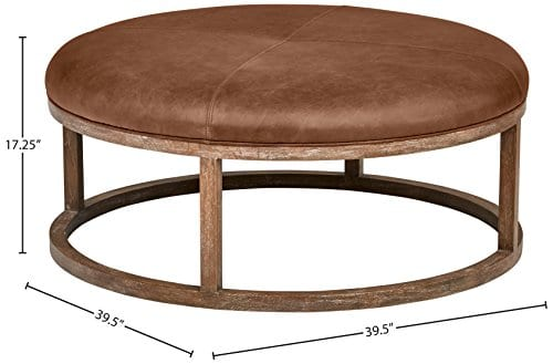 Stone Beam Norah Leather And Wood Round Ottoman 395 Saddle Brown 0 3