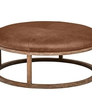 Stone Beam Norah Leather And Wood Round Ottoman 395 Saddle Brown 0 300x360