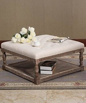 Warehouse Of Tiffany Cairona 34 Shelved Ottoman In Cream Tufted Fabric 0 300x360