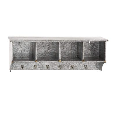deco 79 metal wall with shelf hooks