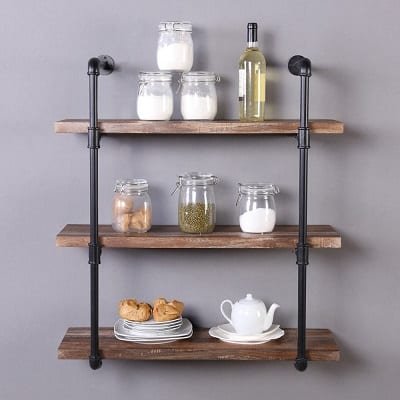 industrial pipe shelf farmhouse style