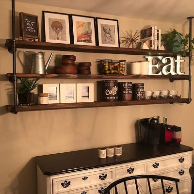 industrial retro wall mount iron pipe shelf