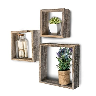 rustic farmhouse floating box shelves