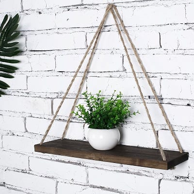 swing rope floating shelves farmhouse