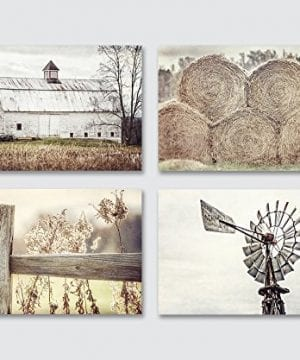 Farmhouse Decor Wall Art Set Of 4 Unframed 5x7 Prints Country Rustic Landscape Photographs Barn Fence Hay Windmill Beige Tan White 0 300x360