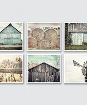 Farmhouse Wall Decor Set Of 6 5x7 Prints Teal Beige Grey Fixer Upper Style Wall Art Rustic Decor Print Set Of Six 0 300x360