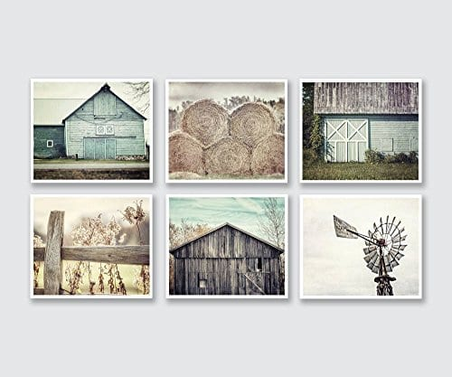 Farmhouse Wall Decor Set Of 6 5x7 Prints Teal Beige Grey Fixer Upper Style Wall Art Rustic Decor Print Set Of Six 0