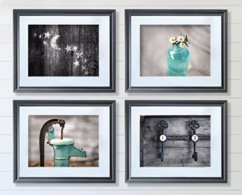 Rustic Bath 4 Print Set 8x10 Country Decor Primative Rustic Bath Farmhouse Teal Aqua 0 0