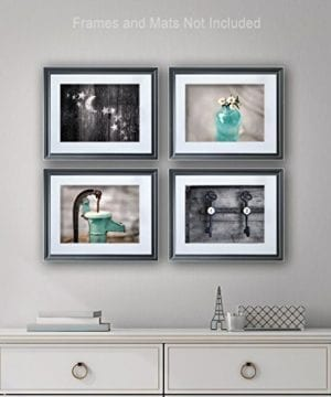 Rustic Bath 4 Print Set 8x10 Country Decor Primative Rustic Bath Farmhouse Teal Aqua 0 1 300x360