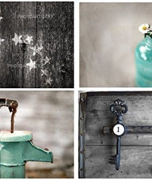 Rustic Bath 4 Print Set 8x10 Country Decor Primative Rustic Bath Farmhouse Teal Aqua 0 300x357