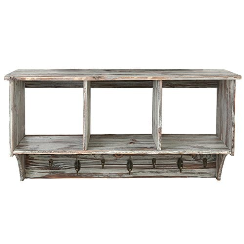 3 Compartment Rustic Wall Mounted Wood Entryway Shelf Organizer Rack With Coat Key Hook Brown 0 2