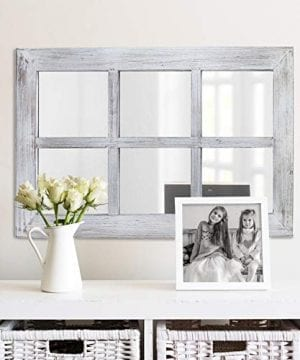 Barnyard Designs Decorative Windowpane Mirror Rustic Farmhouse Distressed Wood Vertical Hanging Mirror Wall Decor 40 X 24 0 0 300x360