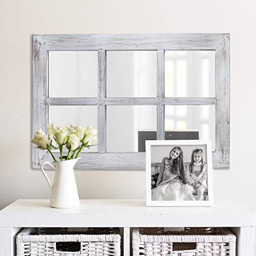 Barnyard Designs Decorative Windowpane Mirror Rustic Farmhouse Distressed Wood Vertical Hanging Mirror Wall Decor 40 X 24 0 0