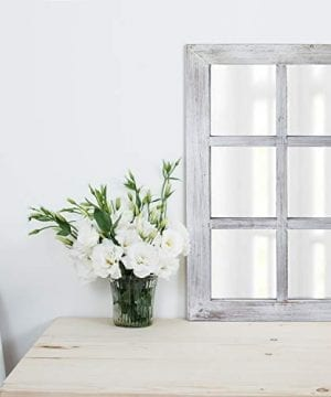 Barnyard Designs Decorative Windowpane Mirror Rustic Farmhouse Distressed Wood Vertical Hanging Mirror Wall Decor 40 X 24 0 1 300x360