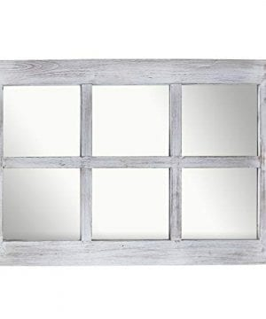 Barnyard Designs Decorative Windowpane Mirror Rustic Farmhouse Distressed Wood Vertical Hanging Mirror Wall Decor 40 X 24 0 2 300x360