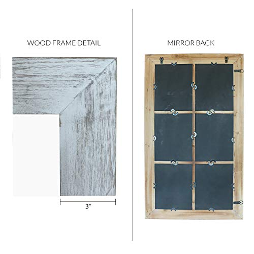Barnyard Designs Decorative Windowpane Mirror Rustic Farmhouse Distressed Wood Vertical Hanging Mirror Wall Decor 40 X 24 0 3