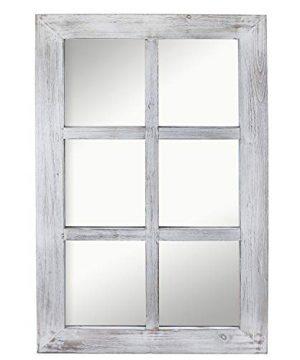 Barnyard Designs Decorative Windowpane Mirror Rustic Farmhouse Distressed Wood Vertical Hanging Mirror Wall Decor 40 X 24 0 300x360