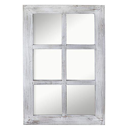 Barnyard Designs Decorative Windowpane Mirror Rustic Farmhouse Distressed Wood Vertical Hanging Mirror Wall Decor 40 X 24 0