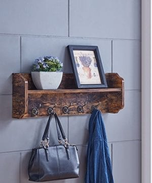 Danya B XF161206PI Rustic Floating Wall Shelf With Hooks Aged Wood Finish Wall Mount Brown 0 0 300x360