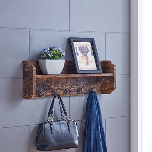 Danya B XF161206PI Rustic Floating Wall Shelf With Hooks Aged Wood Finish Wall Mount Brown 0 0