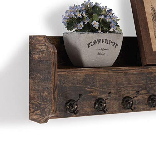 Danya B XF161206PI Rustic Floating Wall Shelf With Hooks Aged Wood Finish Wall Mount Brown 0 1