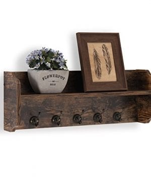 Danya B XF161206PI Rustic Floating Wall Shelf With Hooks Aged Wood Finish Wall Mount Brown 0 2 300x360