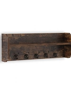 Danya B XF161206PI Rustic Floating Wall Shelf With Hooks Aged Wood Finish Wall Mount Brown 0 300x360