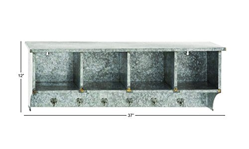Deco 79 49161 Metal Wall Shelf Hook 37 X 12 0 0