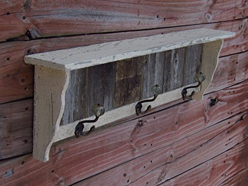 Distressed Coat Hook Wall Shelf Antique Looking Shelf Handmade In Texas With Reclaimed Weathered Cedar Farmhousefurnituretx 0 0