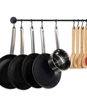 Fasthomegoods Steel Gourmet Kitchen 24 Inch Wall Rail And 10 S Hooks Utensil Pot Pan Lid Rack Storage Organizer Set Black 0 0 300x360