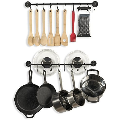 Fasthomegoods Steel Gourmet Kitchen 24 Inch Wall Rail And 10 S Hooks Utensil Pot Pan Lid Rack Storage Organizer Set Black 0 2