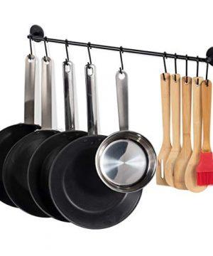 Fasthomegoods Steel Gourmet Kitchen 24 Inch Wall Rail And 10 S Hooks Utensil Pot Pan Lid Rack Storage Organizer Set Black 0 300x360