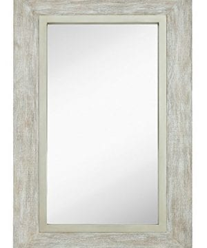 Hamilton Hills Large White Washed Framed Mirror Beach Distressed Frame Solid Glass Wall Mirror Vanity Bedroom Or Bathroom Hangs Horizontal Or Vertical 100 24 X 36 0 0 300x360