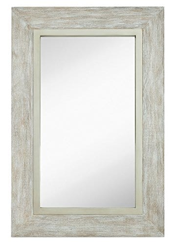 Hamilton Hills Large White Washed Framed Mirror Beach Distressed Frame Solid Glass Wall Mirror Vanity Bedroom Or Bathroom Hangs Horizontal Or Vertical 100 24 X 36 0 0