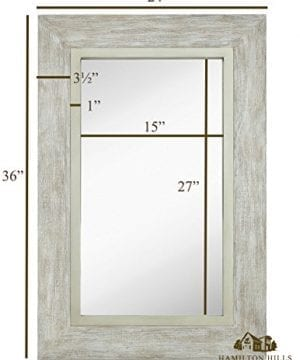 Hamilton Hills Large White Washed Framed Mirror Beach Distressed Frame Solid Glass Wall Mirror Vanity Bedroom Or Bathroom Hangs Horizontal Or Vertical 100 24 X 36 0 1 300x360