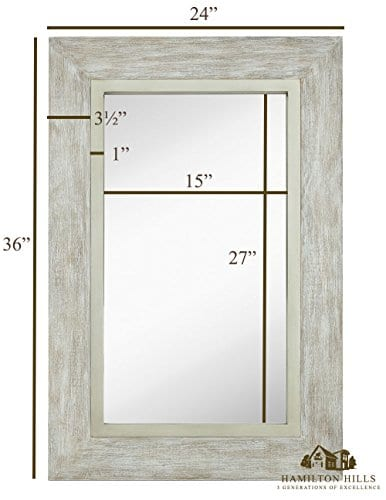Hamilton Hills Large White Washed Framed Mirror Beach Distressed Frame Solid Glass Wall Mirror Vanity Bedroom Or Bathroom Hangs Horizontal Or Vertical 100 24 X 36 0 1