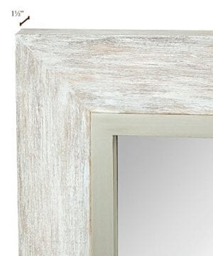 Hamilton Hills Large White Washed Framed Mirror Beach Distressed Frame Solid Glass Wall Mirror Vanity Bedroom Or Bathroom Hangs Horizontal Or Vertical 100 24 X 36 0 2 300x360