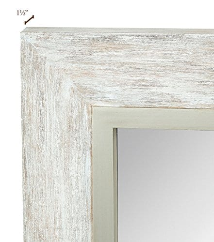 Hamilton Hills Large White Washed Framed Mirror Beach Distressed Frame Solid Glass Wall Mirror Vanity Bedroom Or Bathroom Hangs Horizontal Or Vertical 100 24 X 36 0 2