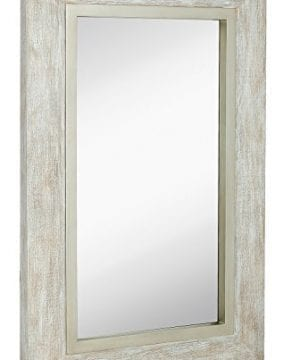 Hamilton Hills Large White Washed Framed Mirror Beach Distressed Frame Solid Glass Wall Mirror Vanity Bedroom Or Bathroom Hangs Horizontal Or Vertical 100 24 X 36 0 300x360