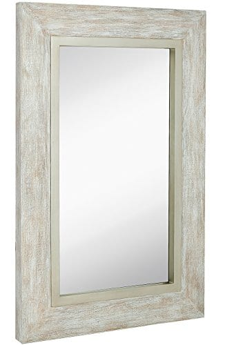 Hamilton Hills Large White Washed Framed Mirror Beach Distressed Frame Solid Glass Wall Mirror Vanity Bedroom Or Bathroom Hangs Horizontal Or Vertical 100 24 X 36 0